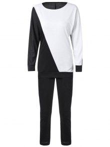 Buy Long Sleeve Color Block Sweatshirt Pants - WHITE/BLACK L
