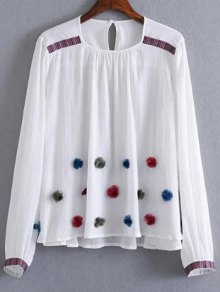 Fuzzy Embroidered Blouse - White L
