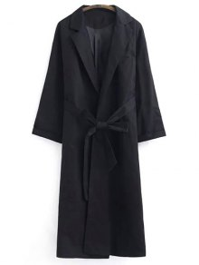 Belted Lapel Trench Coat - Black S