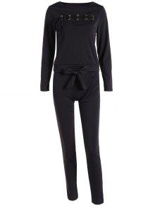 Buy Lace Long Sleeve Top + Pants S BLACK