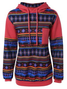 Thick Geometric Hoodie - Red S