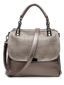 Buy Textured Leather Metal Chain Tote Bag - GUN METAL
