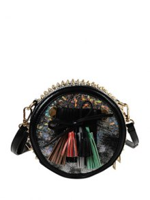 Buy Round Shape Rivets Tassels Crossbody Bag