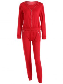 Zippered Pocket Design Sports Suit