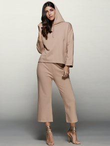 Pullover Hoodie With Culotte Pants - Apricot