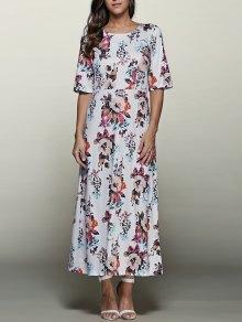 Elbow Sleeve Maxi Dress