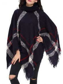 Turtle Neck Checked Knit Poncho
