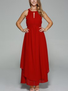 Sleeveless Chiffon Wine Red Maxi Dress