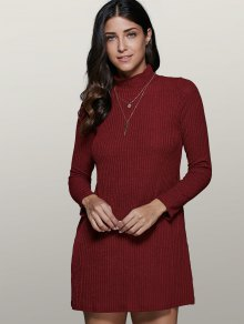 Mini A Line Long Sleeve Sweater Dress WINE RED: Sweater Dresses ...
