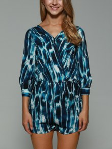 Print Backless Plunging Neck Long Sleeve Playsuit