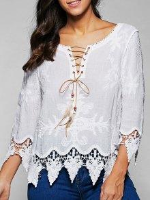 V Neck Lace Up Lace Blouse - White