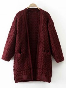 Thickening Cable Knit Cardigan - Wine Red