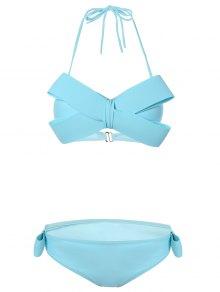 Halterneck Bowknot Bikini - Lake Blue Xl