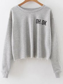 Raw Edge Slouchy Cropped Sweatshirt - Gray