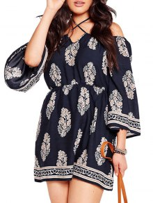 Three Quarter Sleeve Cold Shoulder Dress
