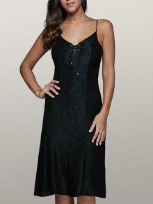 Vestido Con Cordones De Montaje - Negro Xl