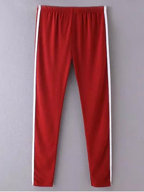 Side Stripe Skinny Pantalons simple - Rouge vineux  TAILLE MOYENNE