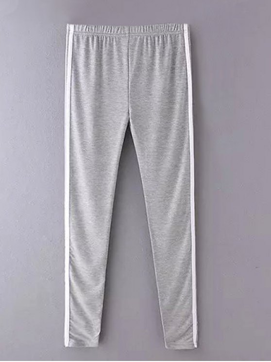 Side Stripe Skinny Pantalons simple - Gris TAILLE MOYENNE