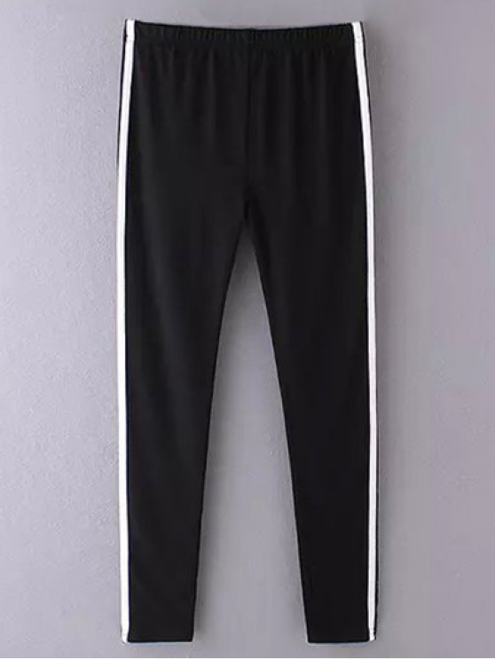 Side Stripe Skinny Casual Pants - BLACK ONE SIZE Mobile