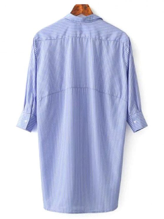 Striped Floral Embroidered Tunic Shirt Dress - BLUE L Mobile