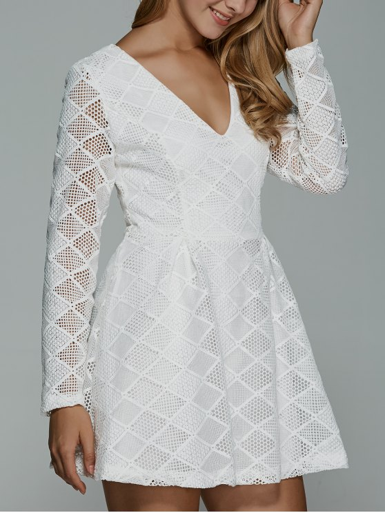 hot Long Sleeves Lace Mini Dress - WHITE XL