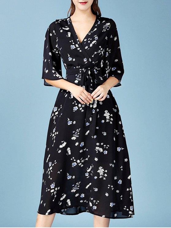 Mousseline de soie col en V Floral Wrap Dress - Noir L