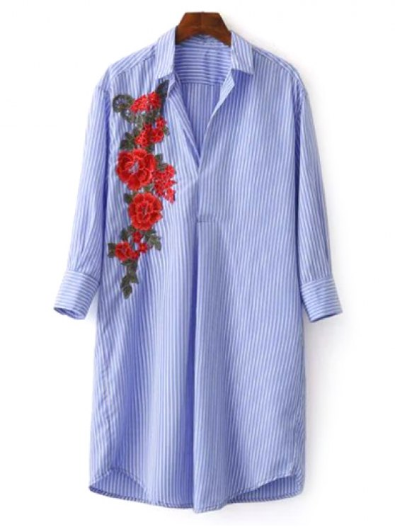 latest Striped Floral Embroidered Tunic Shirt Dress - BLUE S