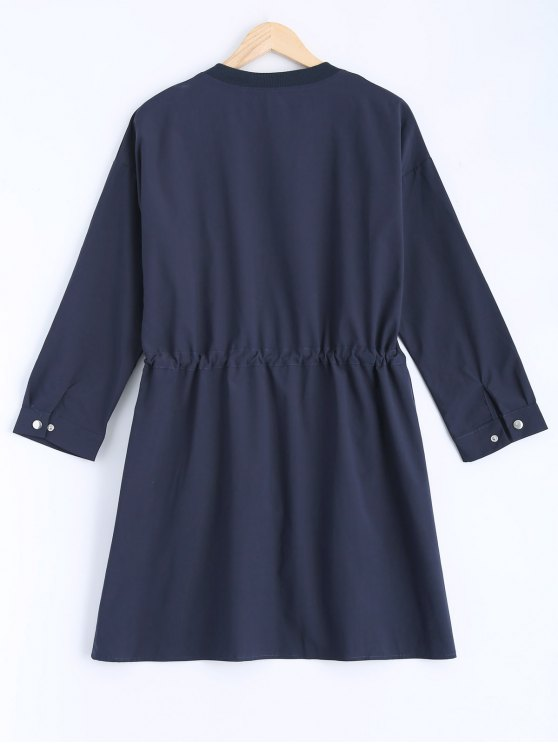 Stand Neck Plus Size Drawstring Coat - CADETBLUE 2XL Mobile