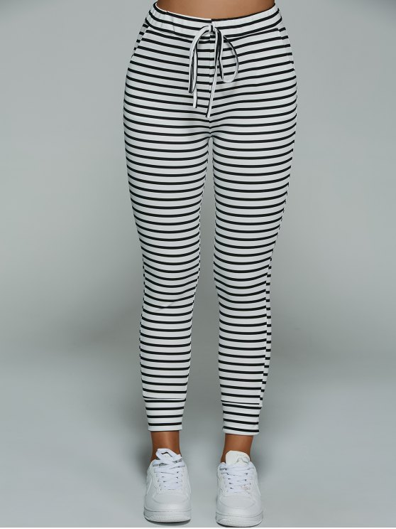 online Drawstring Casual Striped Pants - STRIPE XL