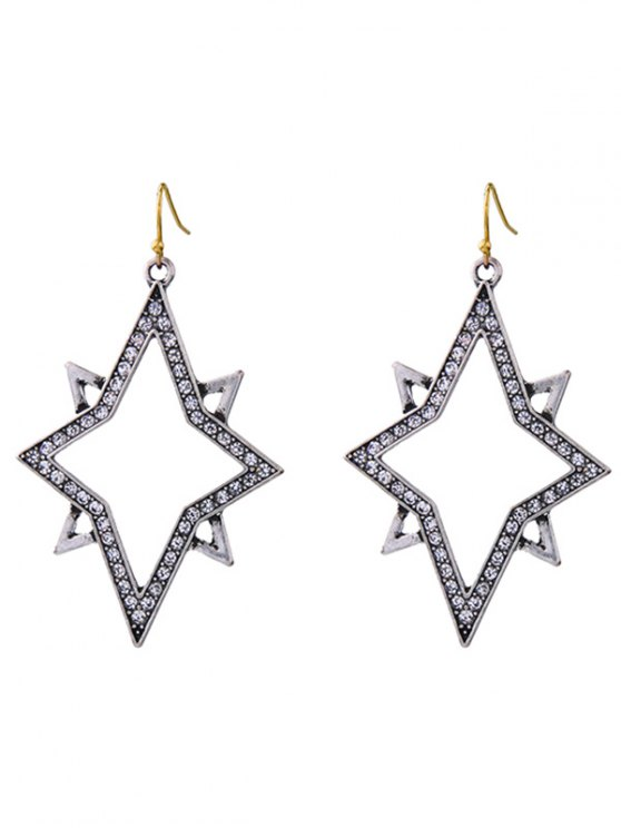 womens Star Rhinestone Drop Earrings - SILVER