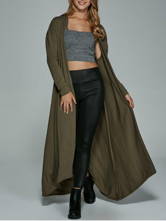 women's Longline Hooded Dust Coat - ARMY GREEN S