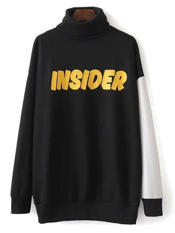Col roulé oversize Sweatshirt Graphic - Noir L