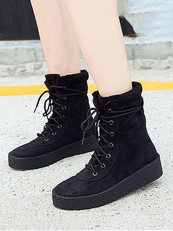 Platform Lace-Up Flock Short Boots - BLACK 38 Mobile