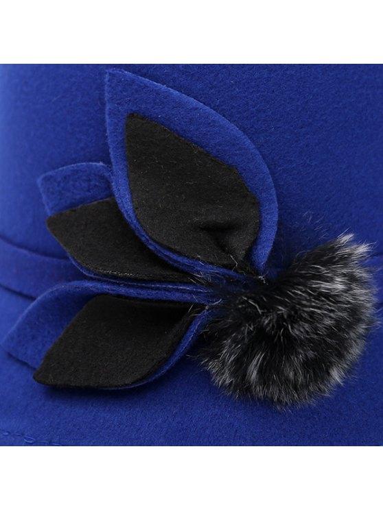 Fuzzy Ball Leaf Fedora Hat - BLACK  Mobile