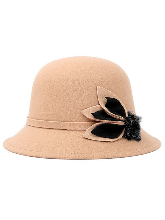 women Fuzzy Ball Leaf Fedora Hat - BEIGE