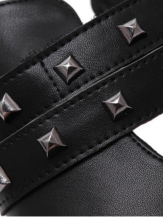 Rivets Pointed Toe Zipper Ankle Boots -   Mobile