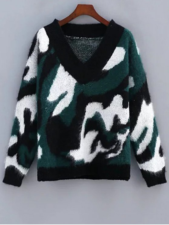 outfits Cozy Camo Jacquard Mohair Sweater - GREEN ONE SIZE