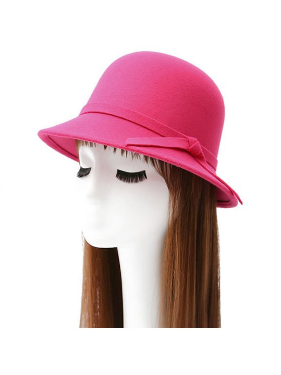 Winter Band Felt Fedora Hat - ROSE RED  Mobile