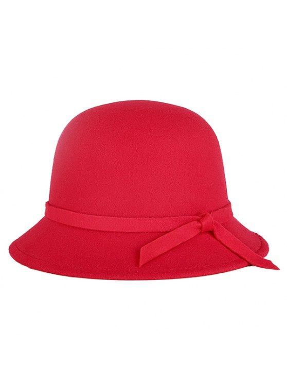 trendy Winter Band Felt Fedora Hat - RED