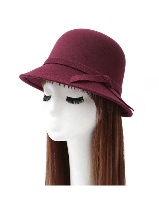 Winter Band Felt Fedora Hat - WINE RED  Mobile