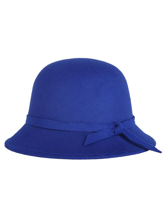chic Winter Band Felt Fedora Hat - SAPPHIRE BLUE
