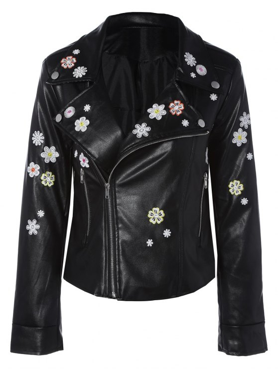 womens Floral Embroidered Lapel Collar Faux Leather Jacket - BLACK M