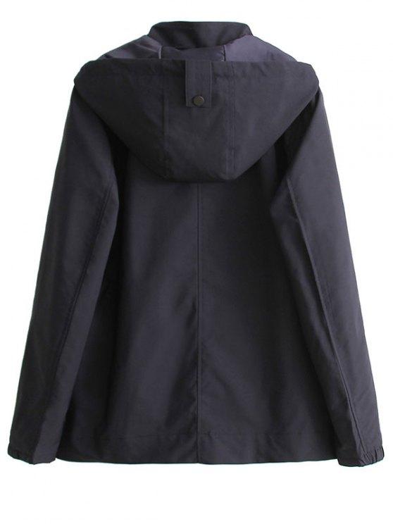 Hooded Windbreaker Jacket - BLACK S Mobile