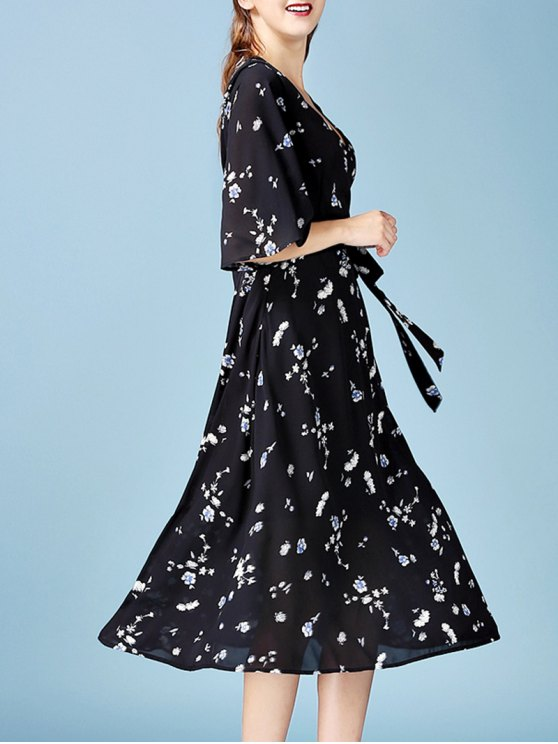 V Neck Floral Chiffon Wrap Dress - BLACK L Mobile
