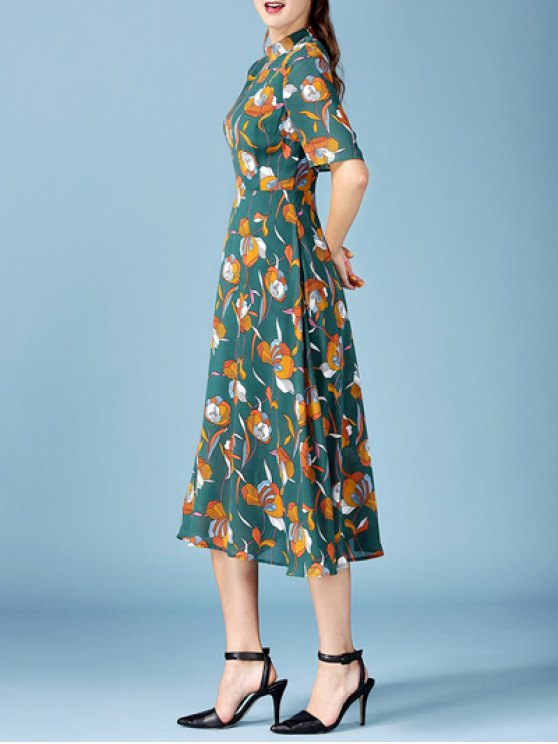 Printed Chiffon Midi Dress - BLACKISH GREEN S Mobile