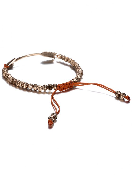 Retro Woven Rope Arrow Bracelet - COFFEE AND GOLDEN  Mobile