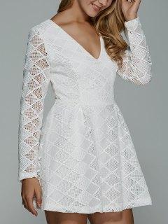 Long Sleeves Lace Mini Dress - White M