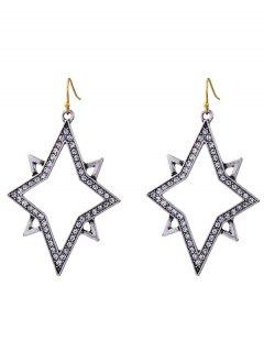 Star Rhinestone Drop Earrings - Silver