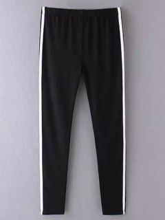 Side Stripe Skinny Casual Pants - Black