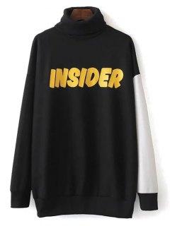 Turtle Neck Oversized Graphic Sweatshirt - Black S